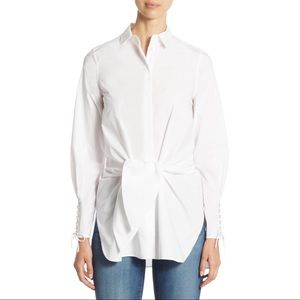3.1 Phillip Lim Tie-Front Poplin White Button Down